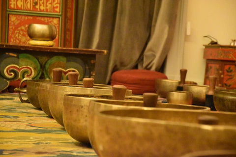 Singing Bowls arranged in row
