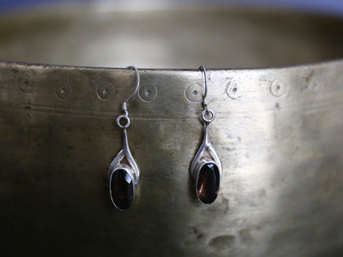 photo of Tibetan smoky quartz and silver earrings