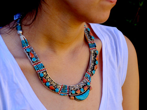 Turquoise and Coral Tibetan Necklace