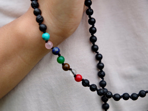 108 bead Knotted Chakra and Lavastone Mala
