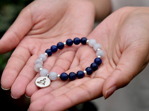Moonstone and Lapis Mala Bracelet