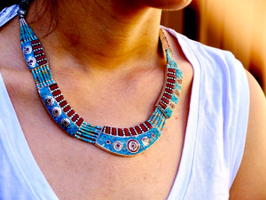 'Ladakh' Turquoise and Coral Necklace