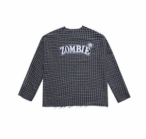 ZOMBIE@ DESTROYED HEM SWEATER IN TEXTURE