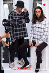 7068 PLAID HOODIE IN W.BLACK