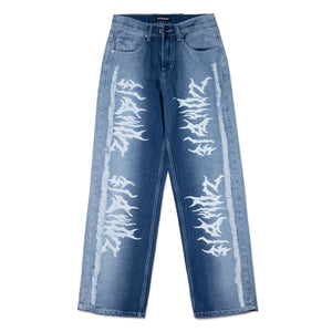 RIPPED ZOMBIE PRINTED STRAIGHT FIT JEANS