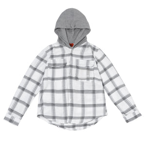 7130 PLAID HOODIE IN B.WHITE