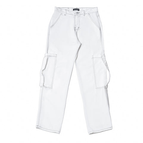 Flared Straight Fit Pants-White
