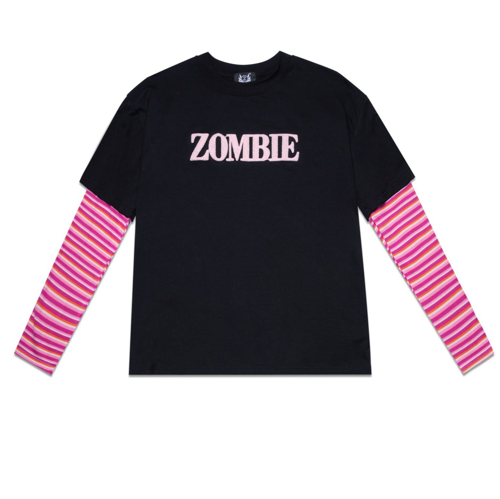 PINK STRIPES SWEATER - BLACK