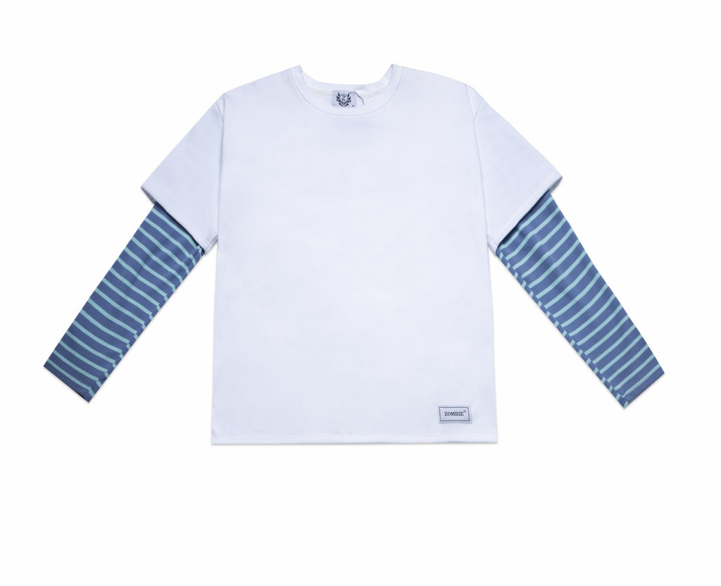 #1 BLUE STRIPES SWEATER - WHITE