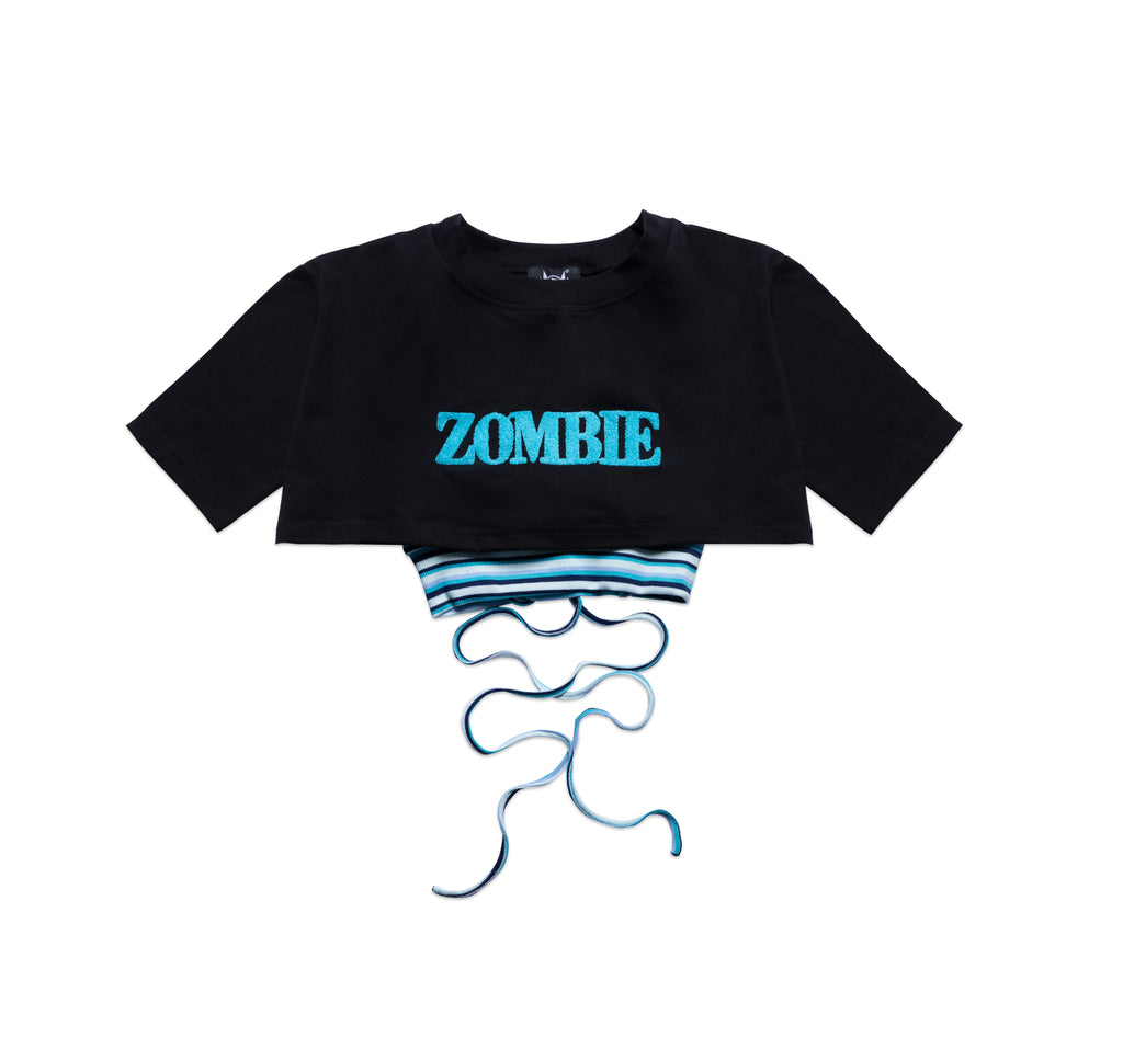 SET ZOMBIE-BLUE CROPTOP-BLACK