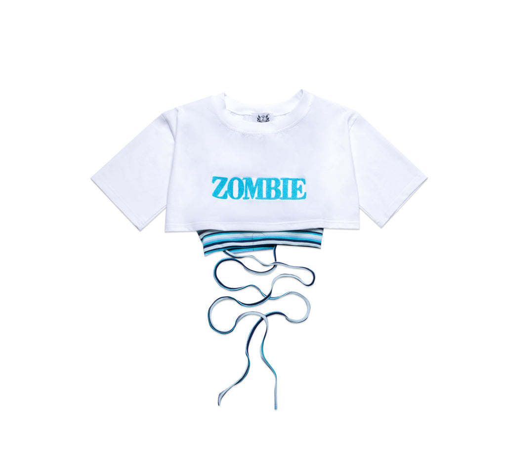 SET ZOMBIE-BLUE CROPTOP-WHITE