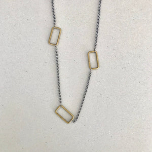 Triple Antique Brass Rectangle Necklace
