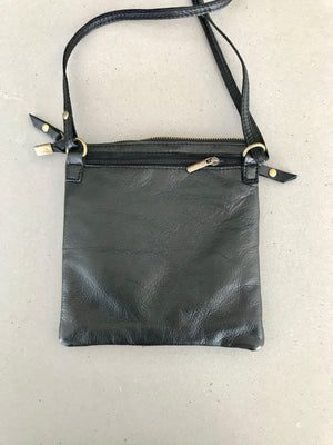 Black Italian soft Leather Cross Over Handbags