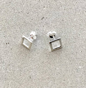 Square Hollow Sterling Silver Stud Earrings