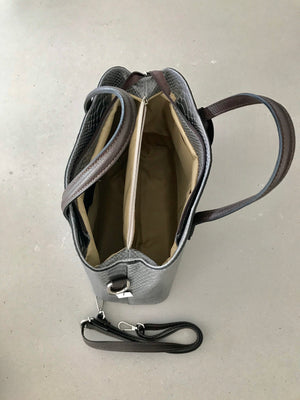 Italian Snake Grey Leather Tote Handbags