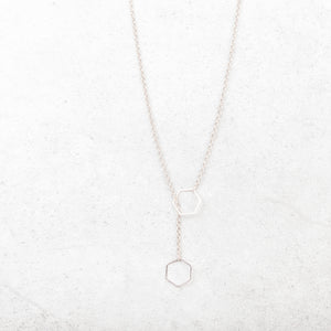 Hexagon Rose Gold Slip Ring Necklace