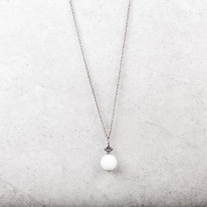 Solitaire White Stone Ball Necklace