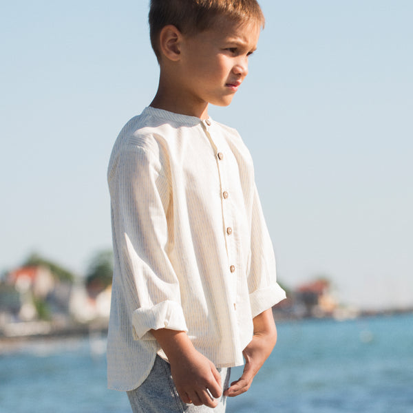 Organic Woven Peasant Shirt - Lines/Off White - 2-9y