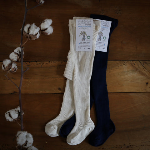 collants long bébés en coton bio par Grödo, marine bleu collants bébé durable 100% coton biologique