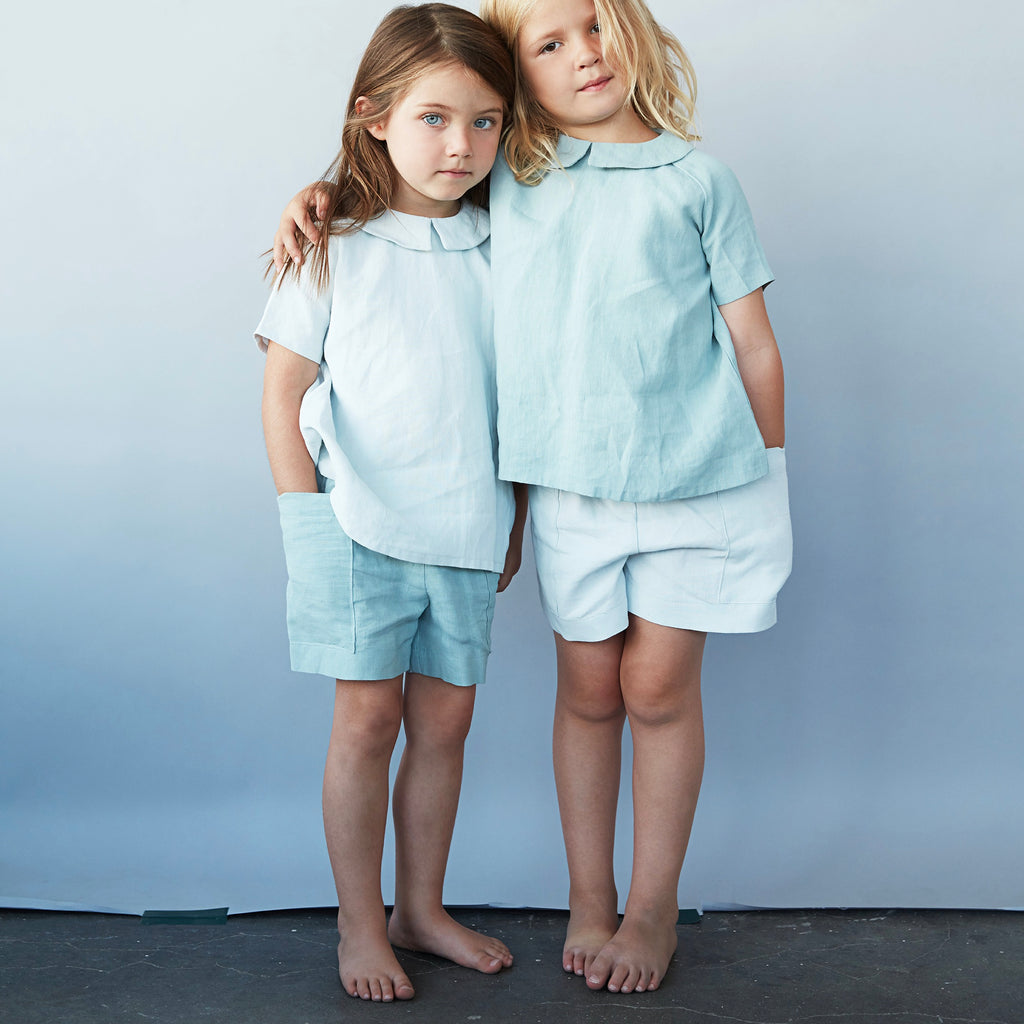 short enfants en lin, As We Grow, slow fashion durable et equtiable fashion pour enfants, short lin sauge