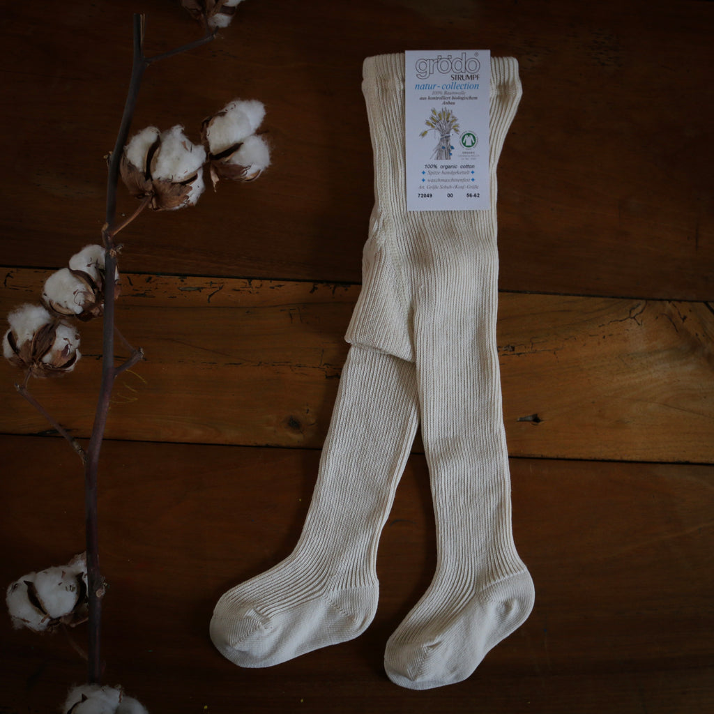 collants long bébés en coton bio par Grödo, ecru collants bébé durable 100% coton biologique