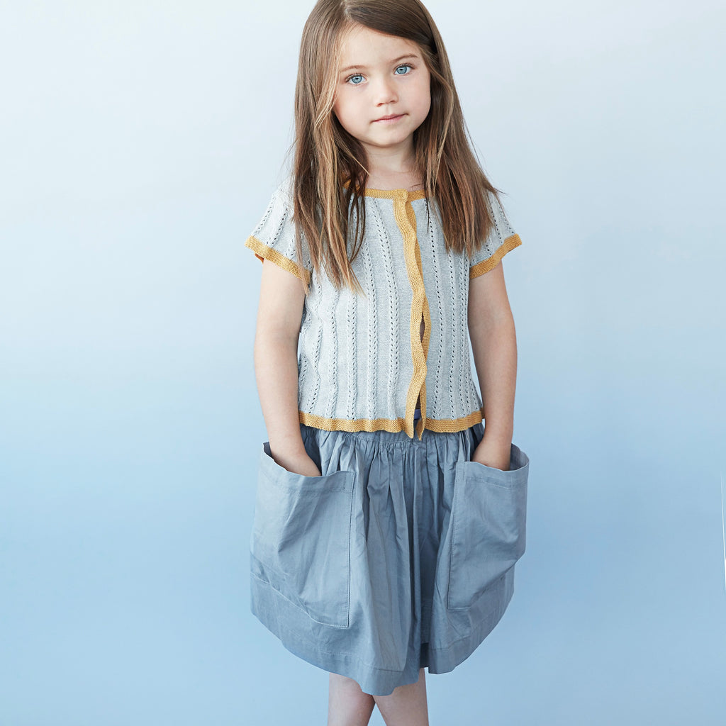 jupe a poches enfants en coton pima, slow fashion, As WE grow, marque Icelandais,
