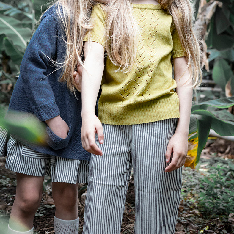 pantalon enfant en lin gris rayé, As We Grow, Slow fashion, vêtements naturel enfants