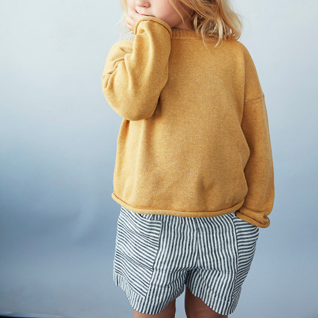 short enfants en lin, As we grow, slow fashion durable et equitable fashion pour enfants, short rayé en lin