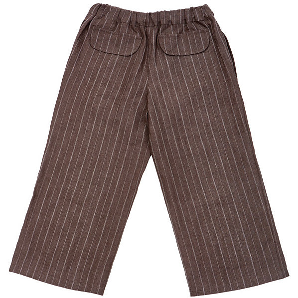pantalon enfant en lin marron rayé, As We Grow, Slow fashion, vêtements naturel enfants