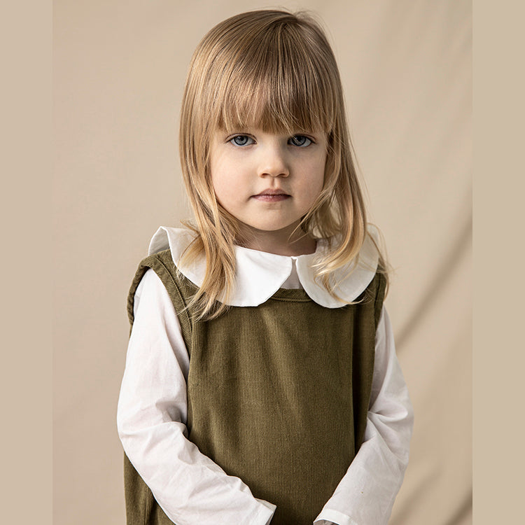 combinaison vintage enfant en velours côtelé olive vert, As We Grow Islande, Slow fashion