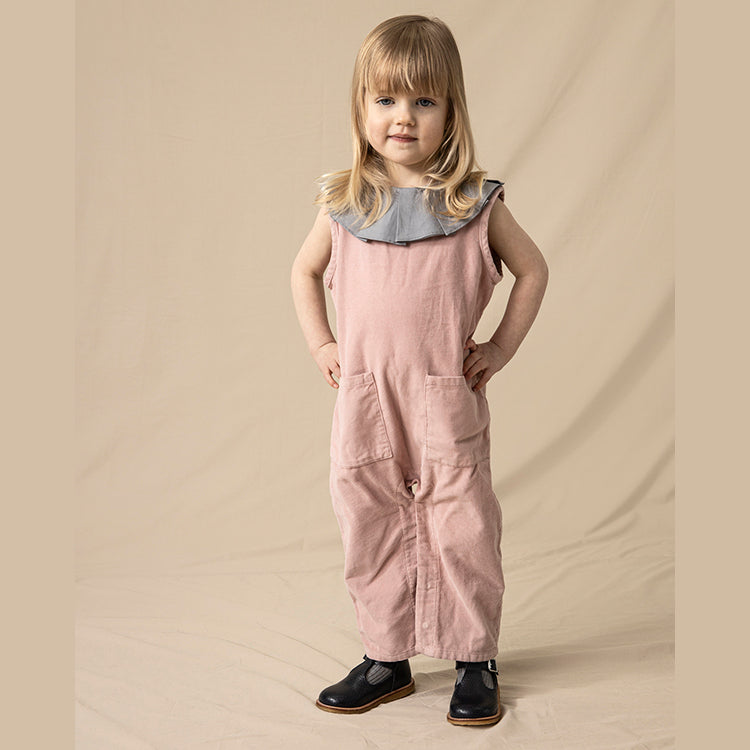 combinaison vintage enfant en velours côtelé rose, As We Grow Islande, Slow fashion