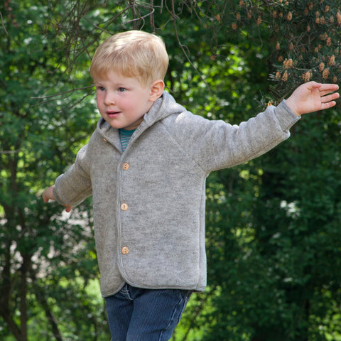Soft Merino Wool Fleece Jacket - Grey Melange - 0m-2y