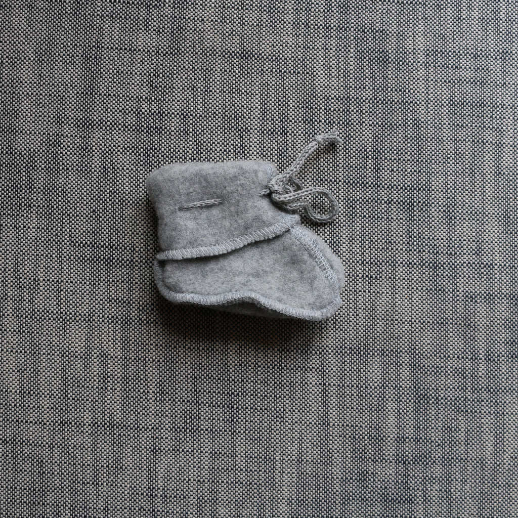 Merino Wool Fleece Booties - Grey Melange - 0-6m