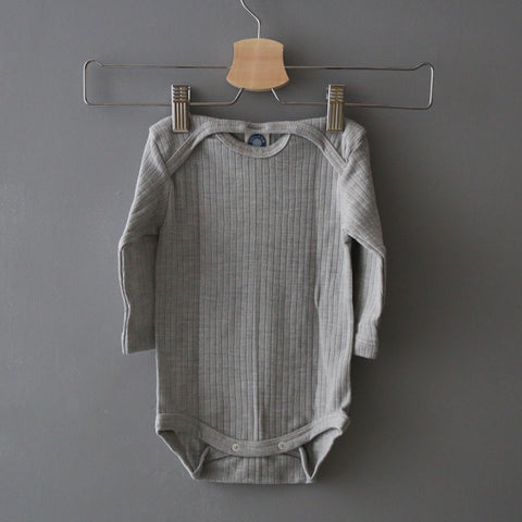 Merino Wool, Silk & Cotton Body - Grey Melange - 0-3y