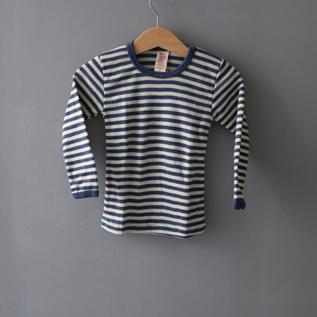 Organic Striped Wool Top - Blue Melange/Natural - 1-12y