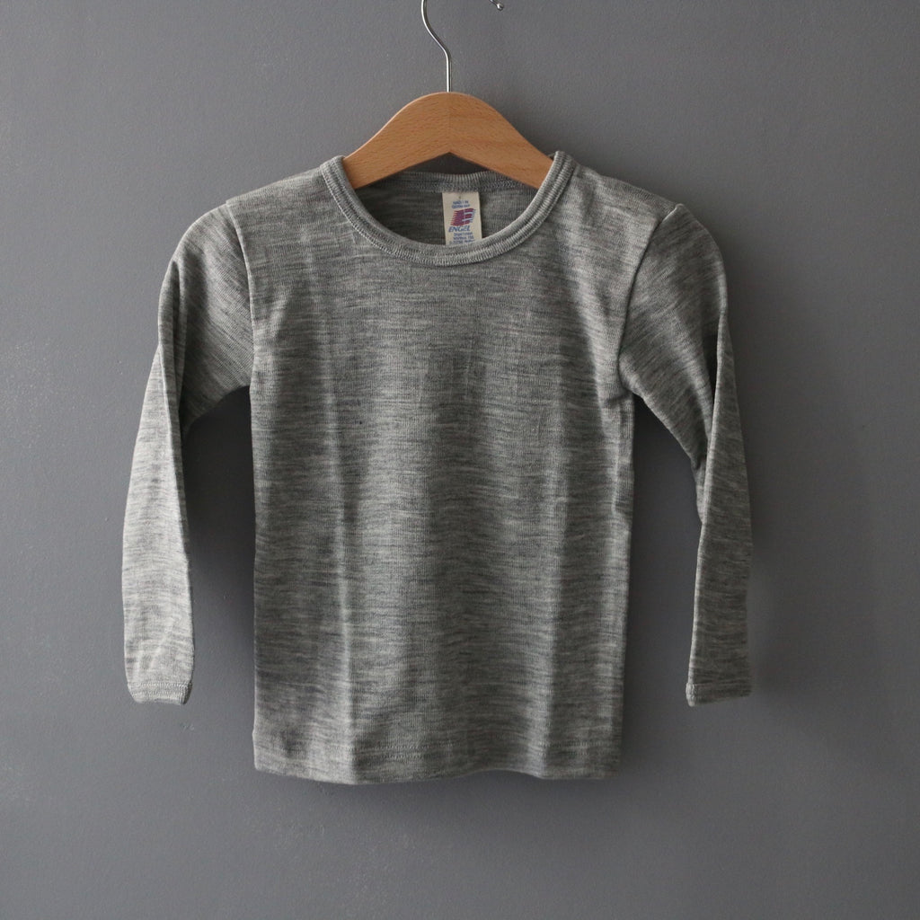 Organic Merino Wool & Silk Top - Grey Melange - 1-15y