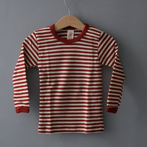 Organic Striped Wool Top - Red Melange/Natural - 1-8y