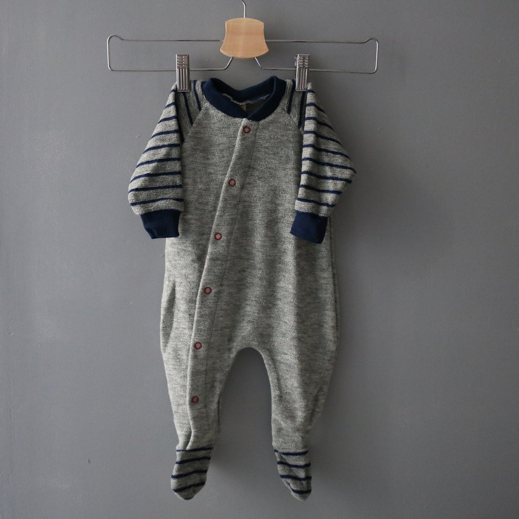 4314de700 Organic Merino Wool Terry Pyjama Footed - Grey Melange Navy ...