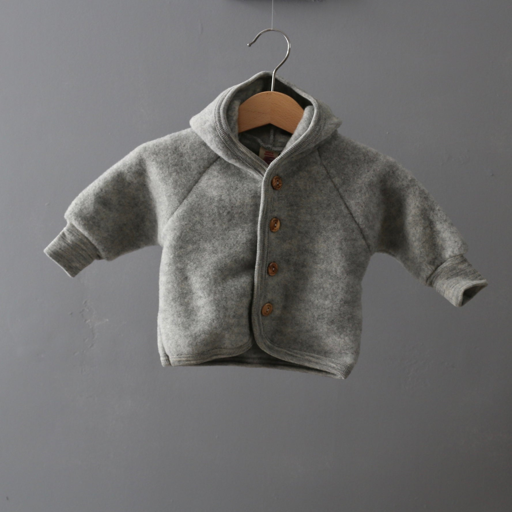 Soft Merino Wool Fleece Jacket Grey Melange 0m 2y Arbre Bleu