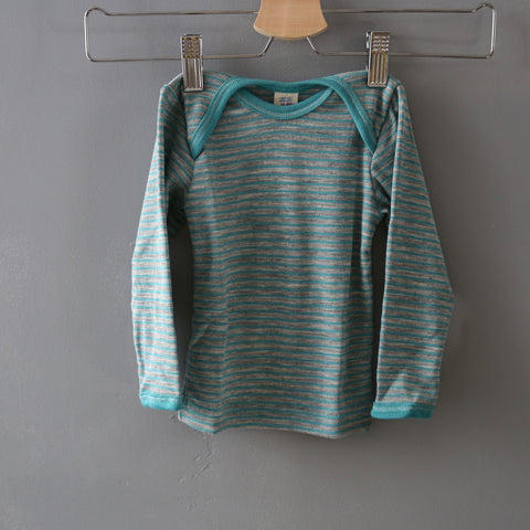 Organic Wool & Silk Top - Grey Melange/Glacier - 3m-3y
