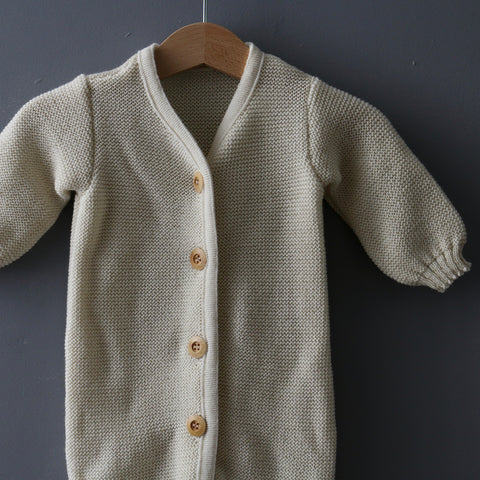 Organic Knitted Overall - Natural - 0-6m