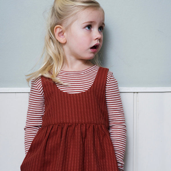 Organic Cotton Woven Spencer Dress - Cayenne Stripe - 2-9y