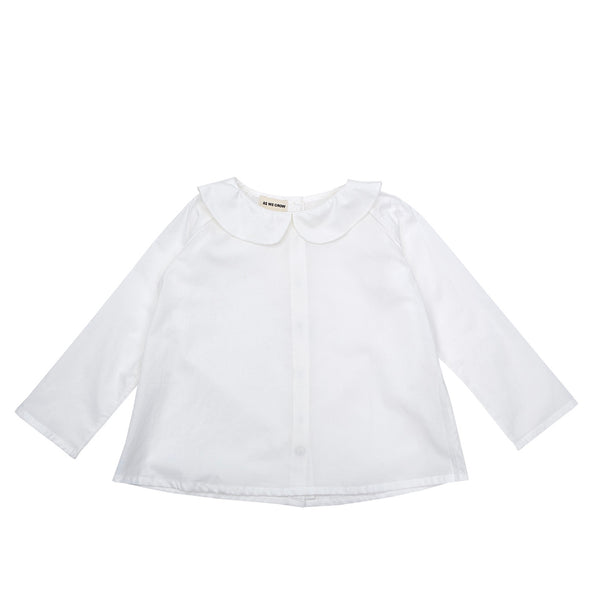 As We grow, blouse enfants en pima cotton, blouse col Peter Pan, blanc