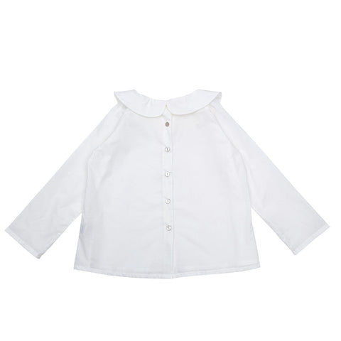 As We grow, chemise enfants en pima cotton, chemise à col Peter Pan, blanc