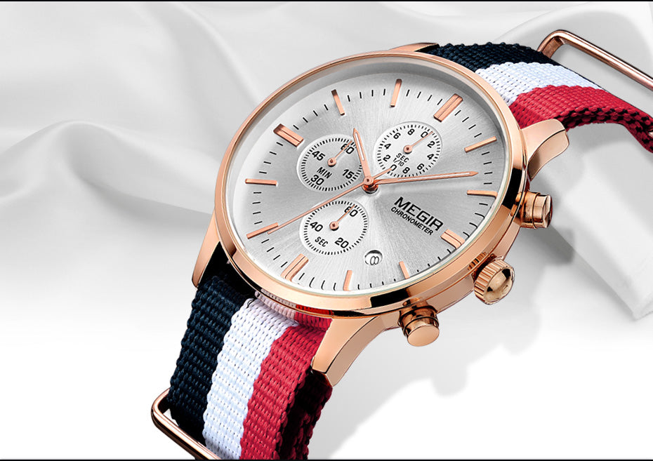 Montre à quartz Chronographe - bracelet nylon - 6 coloris