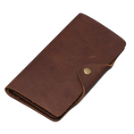 Portefeuille long cuir marron vintage