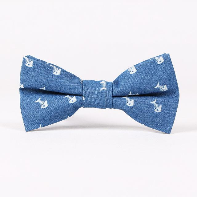 Nœud papillon denim poissons