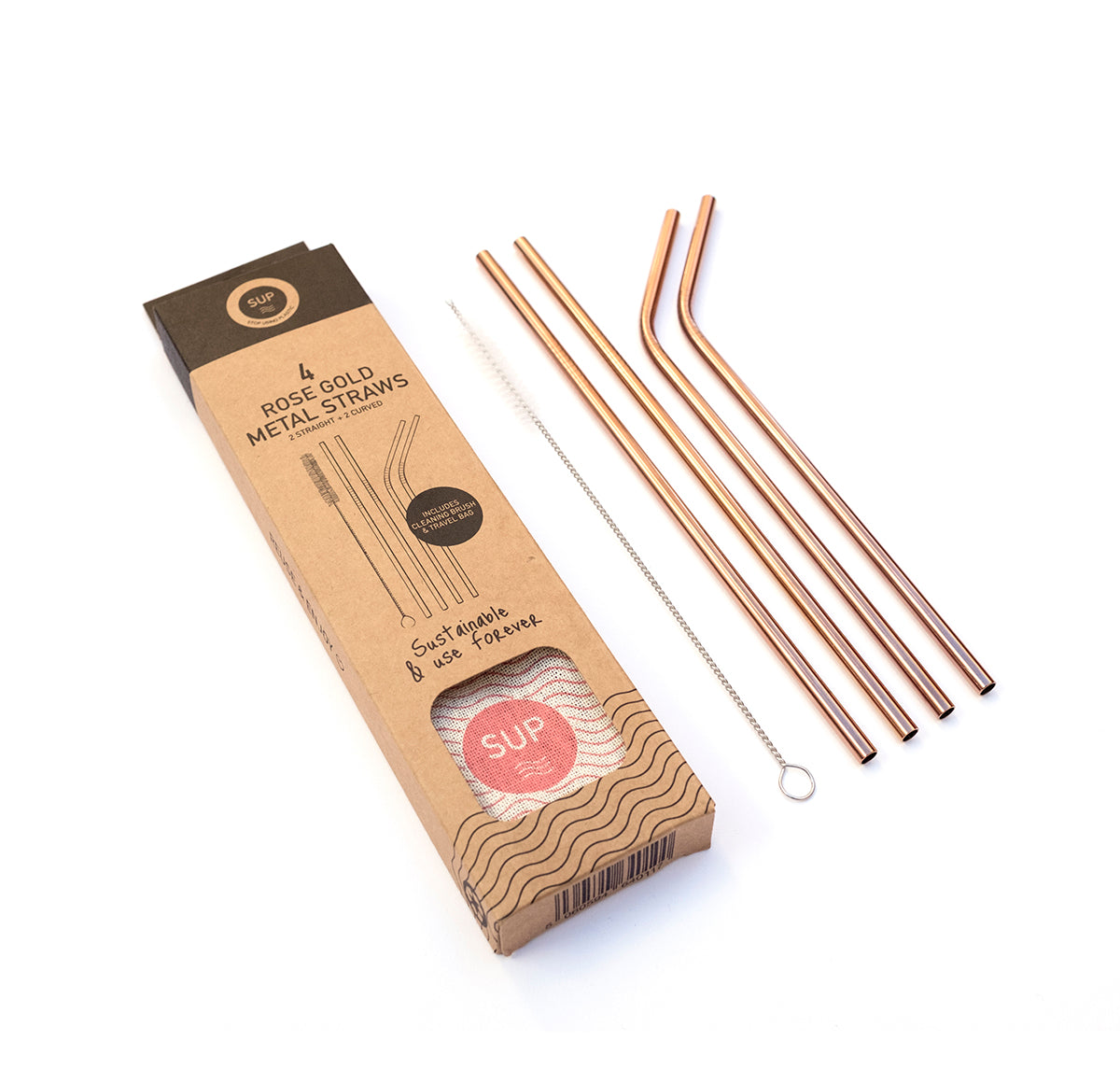 Rose Gold Metal Straws - Pack of 4