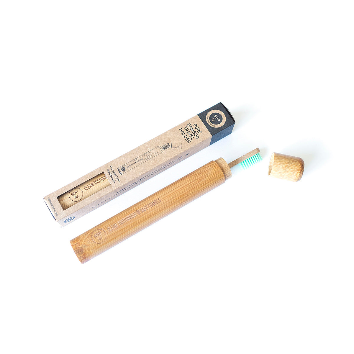 Bamboo brush travel holder