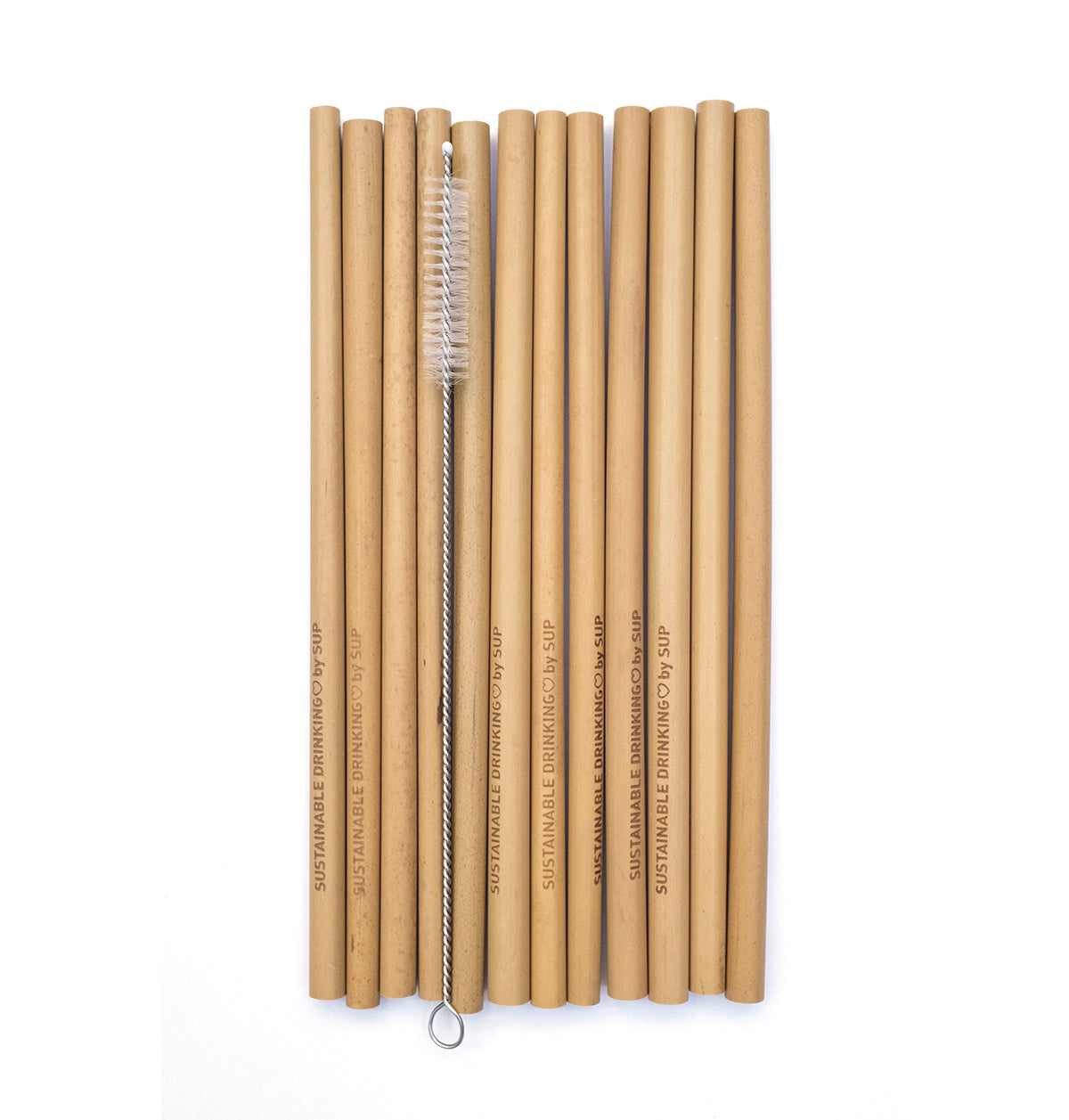 Bamboo Drinking Straws - Pack of 12 with cleaning brush